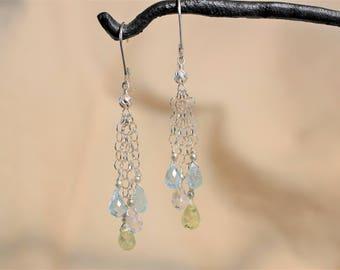 Aquamarine Teardrop Briolette Drop Earrings