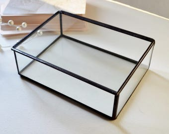 "4"" x 6"" Clear Glass Photo Print Box, Small Display Case"