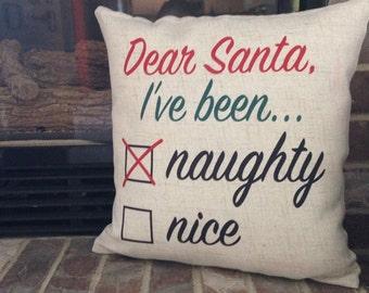 Naughty or Nice Christmas Pillow (Nice)
