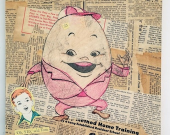Humpty Dumpty, Hand Made Collage, Vintage Paper