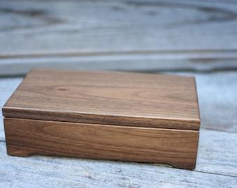 Small Keepsake Box - Personalized Box - Engraved Keepsake Box - Valet Box - Walnut Box