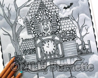 Adult Coloring Page - Grayscale Coloring Page Pack - Printable Coloring Page - Digital Download - Fantasy Art - CHELSEA - Nikki Burnette