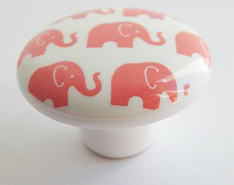 Elephant Drawer Knob, Elephant Knob, Coral Elephant Drawer pull, 1.5""