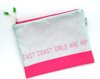 East Coast Girls Bikini Bag, Water Resistant Wet Bag, Typography Zipper Pouch, Waves Recycled Canvas Beach Bag, Handmade Gift for Her