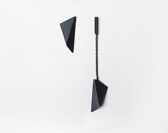 Mismatched Silver Earrings, Geometric Silver Earrings, Black Triangle Earrings, Asymmetric Earrings, Statement Earrings, Industrial Earrings