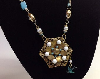 ALTERED PENDANT NECKLACE, Wrapped Wire, Found Objects, Repurposed, Turquoise, Blue Beaded, Bluebird