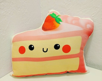 """Cute Pink Strawberry 12"""" Inch Wide Pillow"""