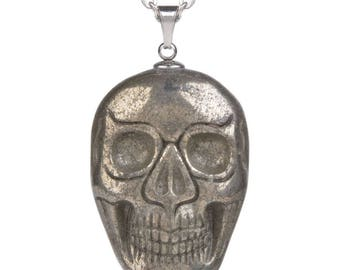 34-36mm Pyrite carved skull pendant focal bead (pendant only)