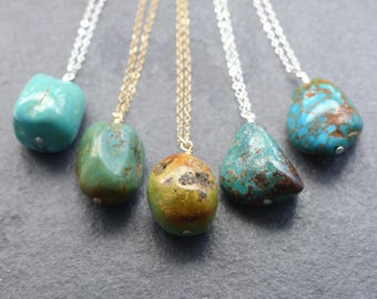 Natural turquoise necklace, 14K gold filled, sterling silver, natural stone jewelry, boho jewelry, bohemian jewelry, December birthstone