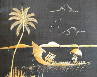 Vintage straw art seascape tropical boat scene