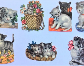 1950's Vintage Decals Cats and Kittens Set of 7 Pieces