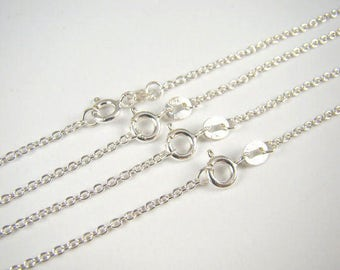 Bulk Necklaces 925 Sterling Silver Chain Link Necklace 12 14 16 18 20 22 24 inches 5 Finished Chains at 65% Off Retail, Wholesale Chains