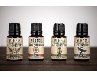 Beard Oil Sampler WILD MAN Beard Conditioner - Four 15ml Bottles Mens Gift