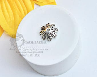 Silver charm s925 thai silver diy torus S925 silver 10mm crafted flower torus bead caps 2422762