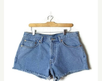 ON SALE Vintage LEVI'S 550 Blue  Denim Cut Off Shorts from 90's/W33*