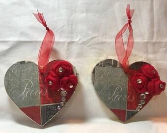 Heart/Paris/Flower wood plaque