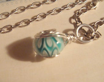 """My#125LW  Pretty Blue/White Lampwork Bead/Silver Spiral Wraps! w/ 24"""" antiqued silver chain! Size: 15mm"""