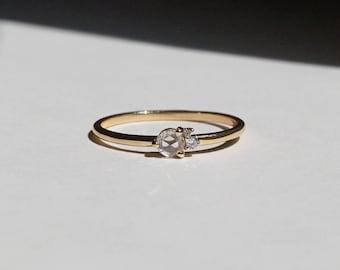 Rose Cut Diamond Engagement Rings, affortable Engagement Rings, 14k solid gold Ring, Stackable Rings, dainty rings, minimal rings