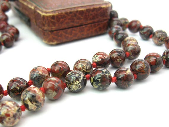 Long Vintage Brecciated Jasper Beads Necklace, Hand Knotted