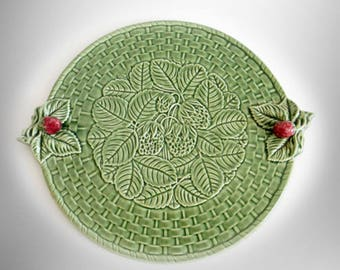 Bordallo Pinheiro large platter in green colors and strawberry pattern - marked