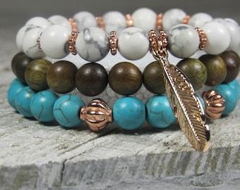 Turquoise Blue Howlite, White Turquoise and Sandalwood Triple Stacked Feather Bracelets