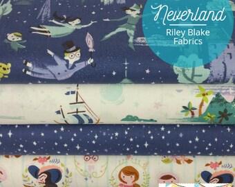 Neverland bleu lot de Peter Pan de tissus de Riley Blake - 5 tissus