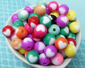 perles colorées coeur résine Globe 25 x 12mm en couleurs mignons