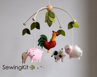 baby mobile farm, diy baby mobile, farm animal, cow, goat, sheep, rooster, mobile, wool felt mobile, farm creatures mobile, country mobile