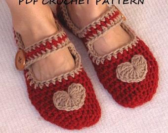 Mary Jane Slippers Crochet Pattern PDF,Easy, Great for Beginners, Shoes Crochet Pattern Slippers, Pattern No. 22