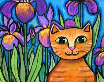 Purple Iris Flower orange tabby cat PRINT Shelagh  Duttett