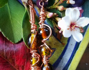 Amber in the Sun... Asymmetrical Monochromatic Wire WRAPPED glass bead earrings by 7beadsstudio