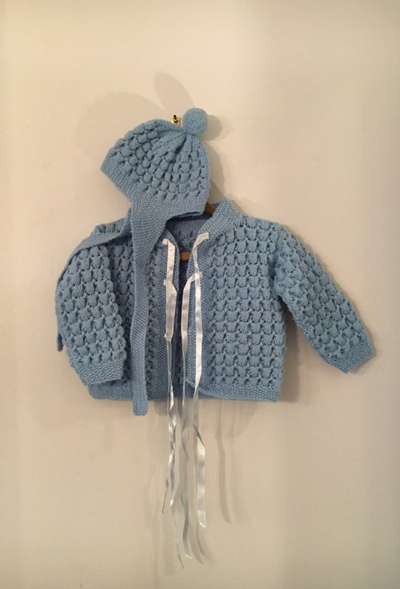 Vintage Baby Boy Acrylic and Wool Mix Handmade Sweater with Matching Winter Hat Size 3-6 Months SHIPS FREE