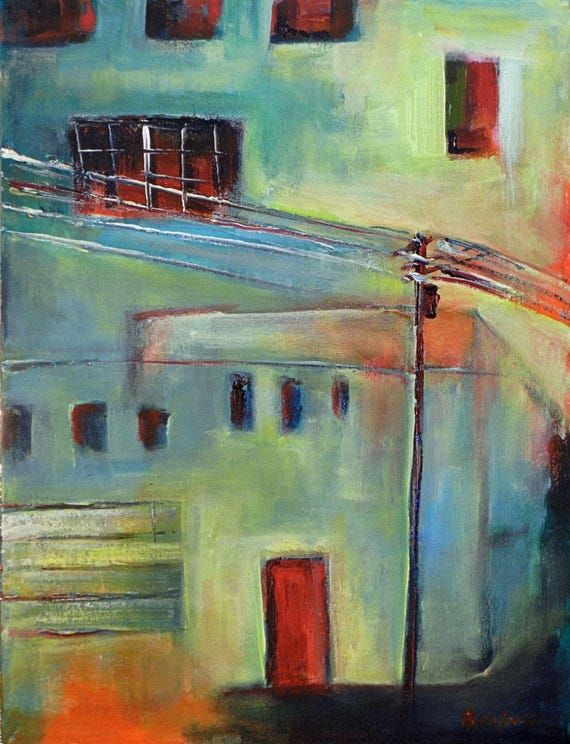 Abstract Art CITYSCAPE Original Painting - URBAN Landscape Wall Deco Artwork 24x18 by BenWill