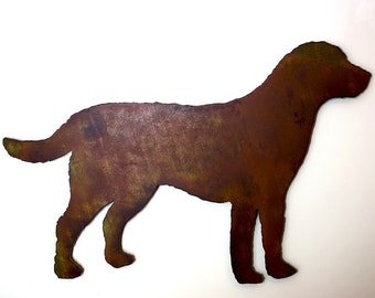 """Labrador Retriever metal wall art - 15"""" wide - dog silhouette painted rusted steel - wall hanging - Choose your patina color"""