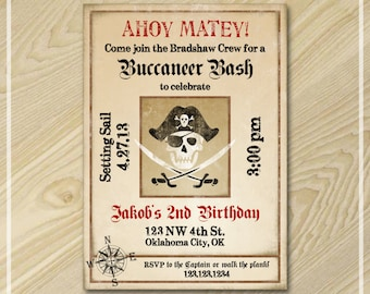 Pirate Party - Pirate Invitation - Birthday Invitation - Printable Party