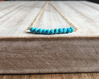 Dainty Birthstone Necklaces,Turquoise necklace, Turquoise Necklace Bar,Delicate Necklace, Dainty Necklace,turquoise silver,gift for her,