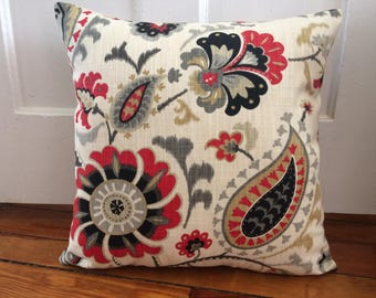 Floral Pillow Cover, 18''x18'' Red Floral Pillow Cover, Decorative Spring Pillow Cover