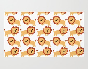 Lion Floor Rug - Babys Room Rug - Lion Childs Throw Rug - Nursery Decor - Lots of Lions - Made to Order