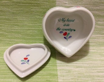 Vintage Japan Germaine Monteil Heart Shaped Tinket Box Jewelry Box Collectable, Country Lovers Gift