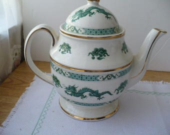 Teapot Wedding Gift For Her, Made In England, Green Dragon Teapot, Japanese