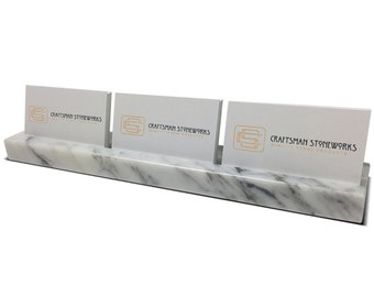 Multiple Business Card Holder - White Carrara Marble - Holds 3 Sets of Cards - Office Desk Home, Desk Accessory, Recycled Marble