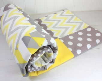 Baby Blanket, Nursery Decor, Minky Baby Blanket, Baby Quilt, Baby Shower Gift, Patchwork Quilt, Baby Bedding, Yellow, Gray, Grey, White