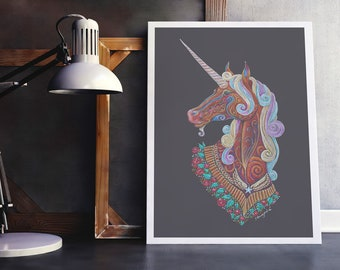 Unicorn print, Unicorn Art, Magical Unicorn Art, Colourful Unicorn print, Unicorn print, Unicorn Totem print, Unicorn Spirit Animal Print