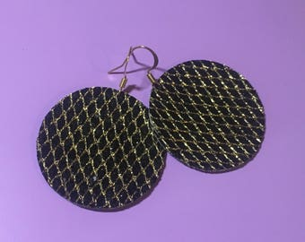 Round Black Glitter Canvas Hook Earrings - One Pair - Gold stitching, Gold Hooks
