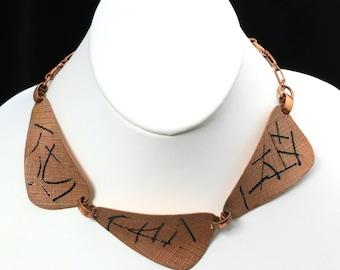 Vintage Modernist Textured Copper & Enamel Abstract Necklace Statement Choker