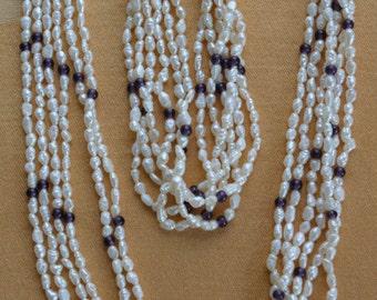 "Pretty Vintage Amethyst, Freshwater Pearl Multi Strand Necklace Set, Bracelet, 20"", 8-1/4"" (G14)"