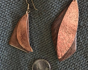Copper and Walnut Earrings
