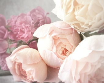 Rose Photography - Romantic Pink Roses, Nature Photography, Feminine Home Decor, Large Wall Art
