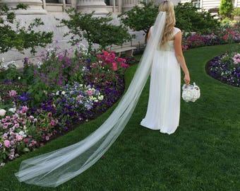 Veil Cathedral Length cut raw edge 9ft Bridal veil