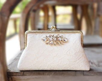 Evening Clutch / Ivory Alencon Clutch (code 2561) / Bridal Lace Clutch / Elegant Wedding Clutch / Wedding Bag / Bridal Clutch Purse